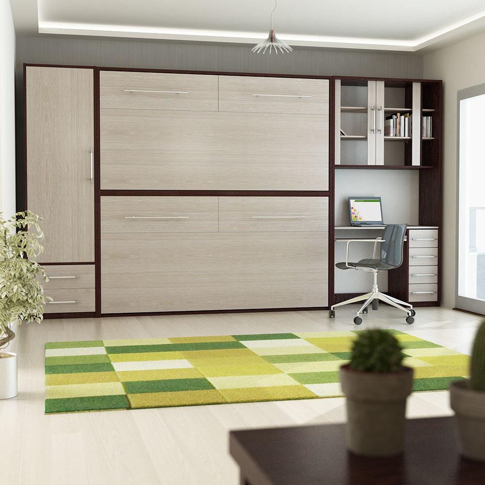 تخت تاشو دیواری دو طبقه رزچوب کد 07