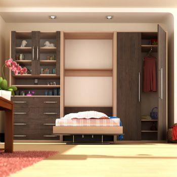 تخت خواب تاشو یک نفره عمودی